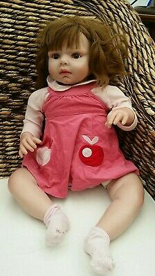 """Reborn Baby Dolls Soft Silicone Cotton Body Lovely Real Life23"""" Large Size Doll"""