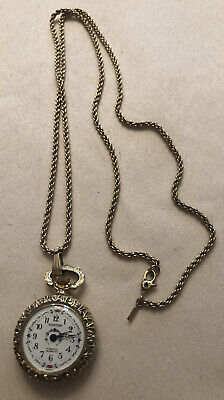 Vintage Ruxton Ladies Pocket Watch Swiss In CABLOC 17 Jewels With Monet Chain