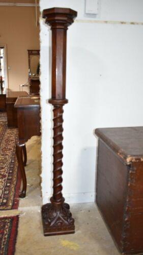 Antique Rope Twist Walnut Pedestal Plant Stand