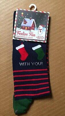 Festive Fun I Like Hanging With You Socks Size 6-12 Men's Crew New Tags AR192 Like Hang Tags