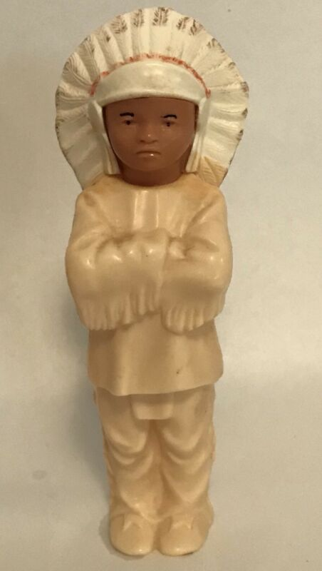 Hard Plastic Celluloid Indian Chief Figure Toy Boy Thanksgiving Vintage  L11