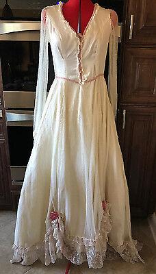 Vintage Handmade Ivory & Pink Antique Wedding Dress Gown Fine Net Lace Brussels