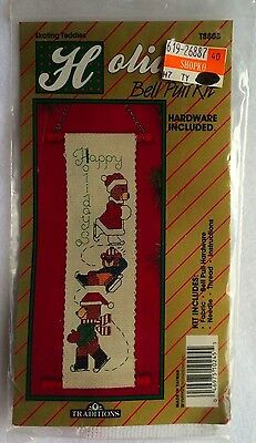 Traditions Holiday Bell Pull Kit Skating Teddies T8808 Counted Cross Stitch New
