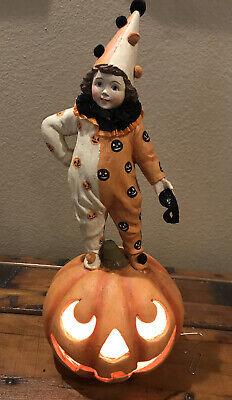 Bethany Lowe Halloween Clown Girl On A Pumpkin Light—Light Included—retired