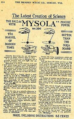 1924 small Print Ad Mysola Ball Science Sex Detector better than the ouija