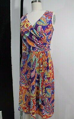Womens S Lauren Ralph Lauren Paisley dress faux wrap around summer colorful - Paisley Wrap Around Wrap