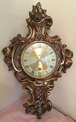 German Vintage Roccoco Hollywood Regency Gild Gold Plate/Brass Ornate Wall Clock