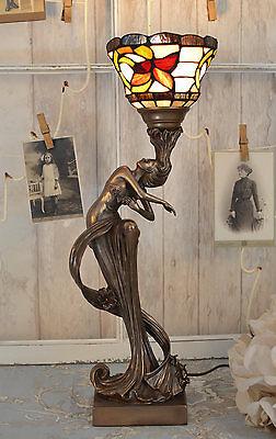 Florale Tischleuchte Jugendstil Nymphe Tischlampe Antik Leuchte