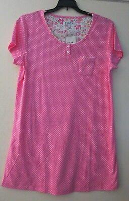 Karen Neuburger L Short Sleeve Nightgown Nightshirt Pink White Polka Dot