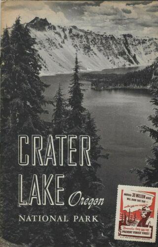 Vintage 1951 Crater Lake National Park Oregon Pamphlet & 1951 Smokey Bear stamp
