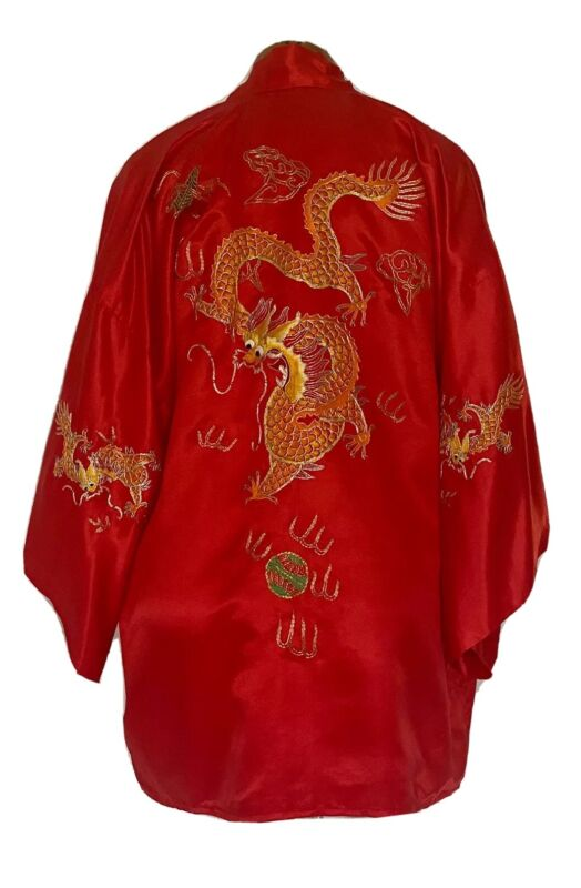Vintage Silk Robe RED Kimono Dressing Gown Hand Embroidered Gold Dragons Small