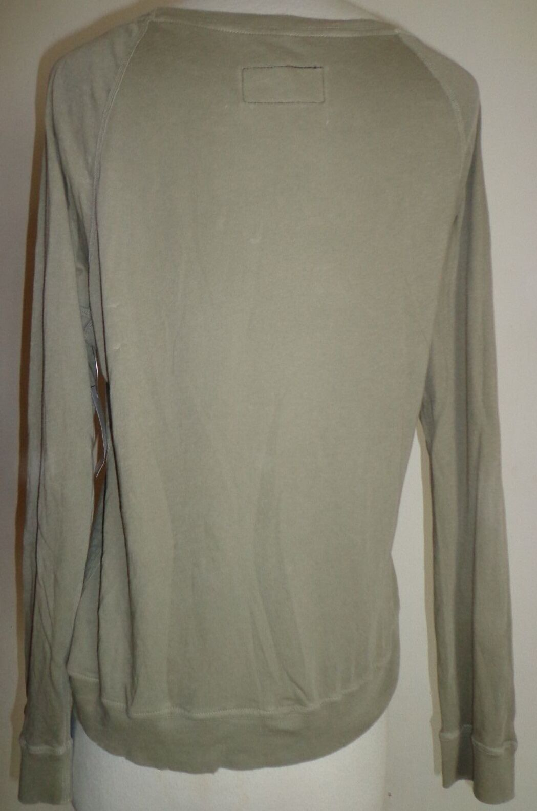 current elliott army green long sleeve t shirt top distressed design New