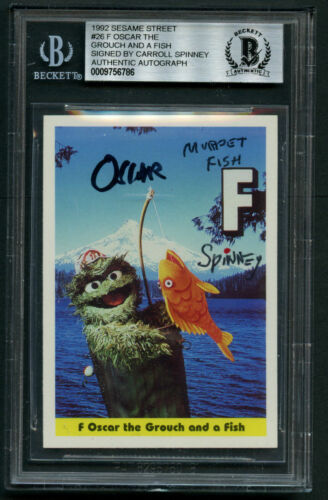 Carroll Spinney signed autograph 1992 Sesame Street Oscar the Grouch BAS Slabbed