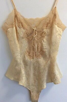 Victoria's Secret Vintage Gold Floral Patterned Silk Teddy Body Lingerie Medium