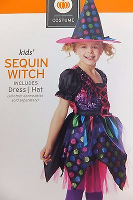 Sequin Witch Kids' Child's Halloween Costume Colorful Dress & Hat Size M 7-8