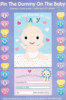 Pin The Dummy On The Baby Shower Party Supplies Game Player Pacifier Stickers