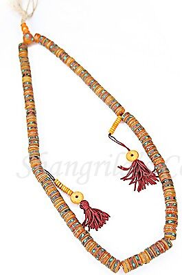 Tibetan Sacred Prayer Beads Bone MalaTurquoise Coral Inlaid 108 Rosary