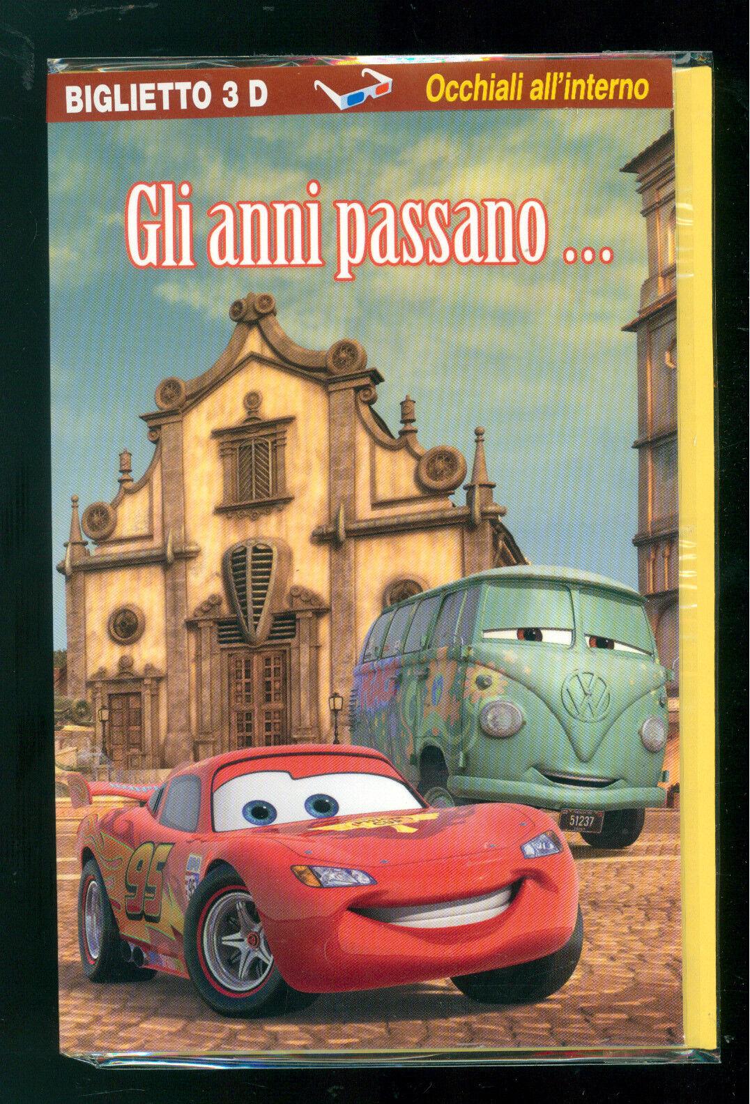 DISNEY CARS 2 BIGLIETTO AUGURI GIFT CARD 3D OCCHIALI MEDIO EDITOR COMPLEANNO