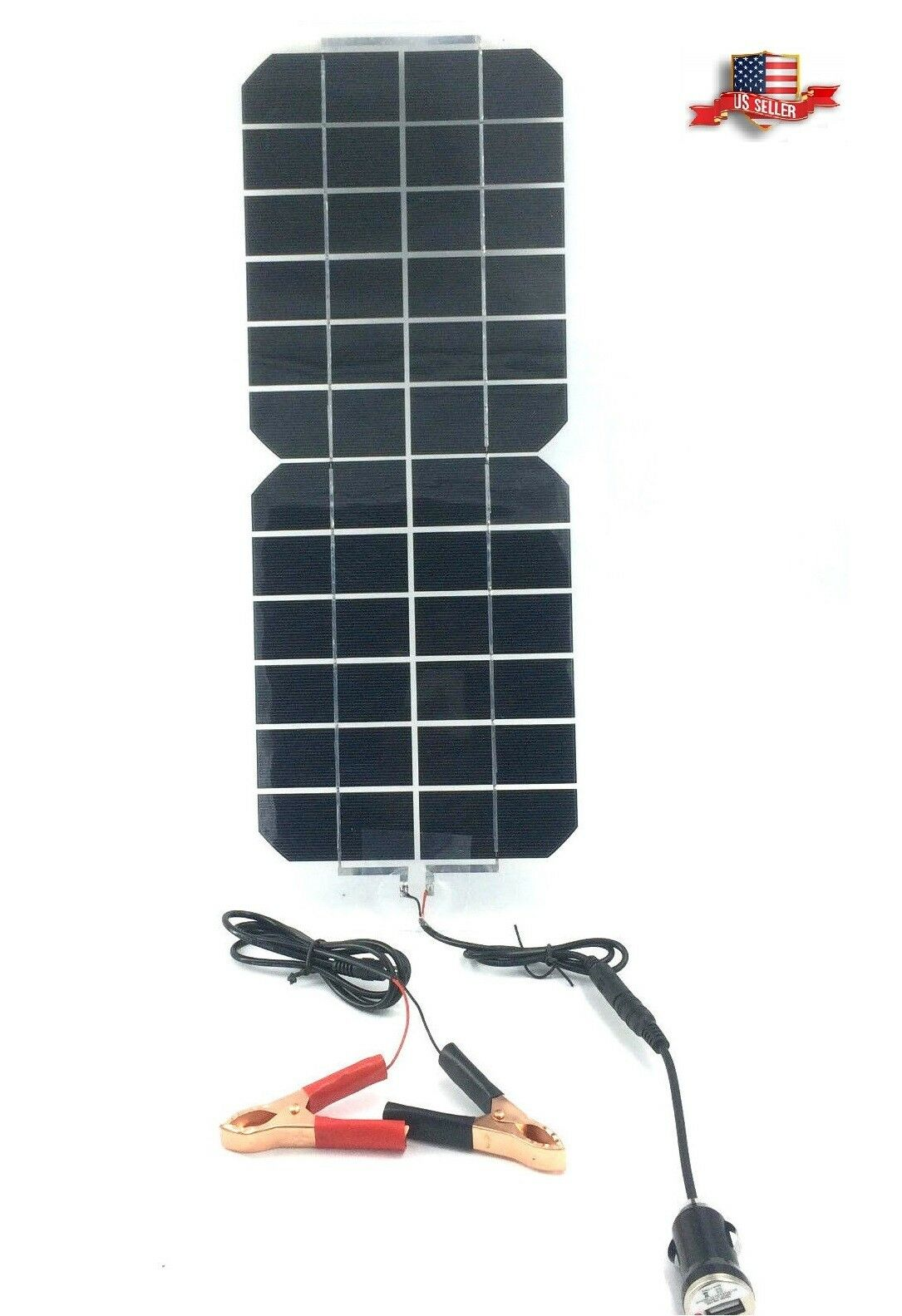 5W 12V/5V DC Waterproof Battery Solar Panel USB Home Phone R