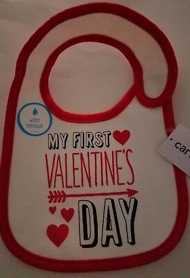 Infant Girls Carters Brand My First Valentines Day White Red Trim Holiday Bib