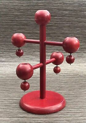 Aarikka Finland Wooden Contemporary Candle Stick Holder Mid 20th Century Red