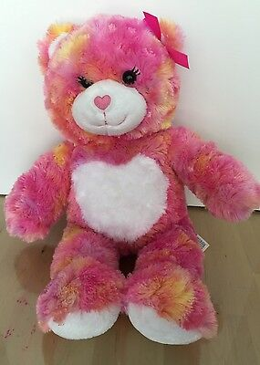 """BUILD A BEAR 16"""" Pink Bear with White Heart on Tummy Pink Bow Valentines EUC, used for sale  Sandy"""