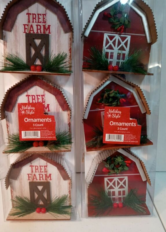 Holiday Style Set Of 6 Ornaments Tree Farm & Red Barn Wooden
