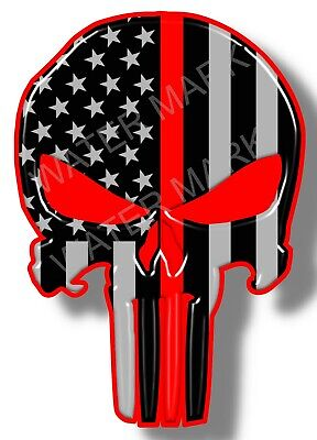 Thin Red Line Punisher Skull Vinyl Sticker Decal Firefighter Fire Department USA