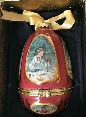 Mr. Christmas Valerie Parr Hill Musical Egg Shaped Boy Tree Snow Scene Ornament