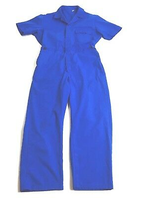 Vintage Blue Jumpsuit 1970's Work Wear Threes Company Blue Suit Fashion Bowie