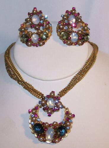 Vintage Jonne Necklace Earring Set-Demi-Rhinestones/Faux Peals...Estate Jewelry