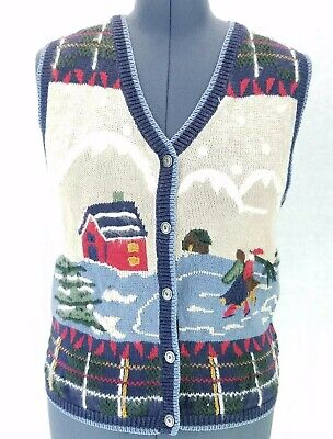 Nutcracker Sweater Vest Womens L Button Front Winter Holiday Ugly Christmas Vtg