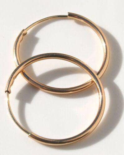 14K GF GOLD FILLED PERFECT HUGGIE 16 mm  HOOP EARRINGS ORIGINAL MADE BY A&Z