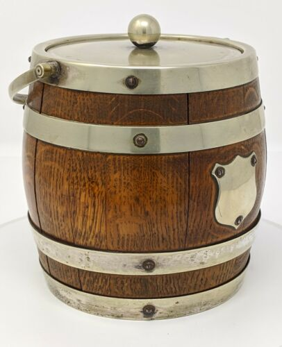 Antique - English Silverplate Double Banded Oak Biscuit Barrel w/ Shield No Mono
