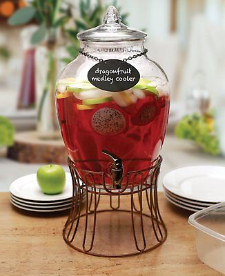 - Circleware 69123 Glass Beverage Dispenser with Stand and Chalkboard Necklace,
