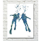 Scuba Divers Contemporary Watercolor Abstract Diving ART Print by DJR