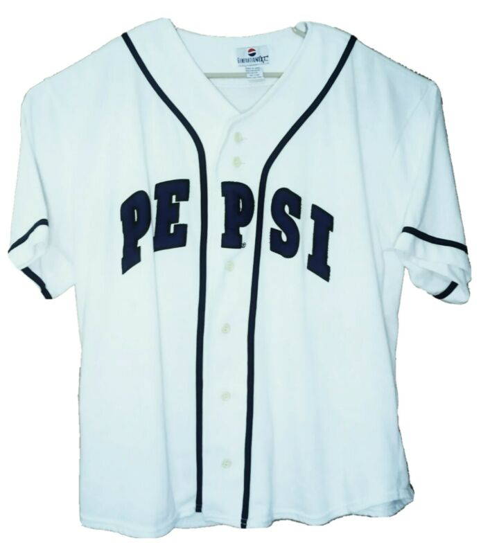 Vintage Mens White Next Generation Pepsi Button Up Promo Baseball Jersey Sz L/XL