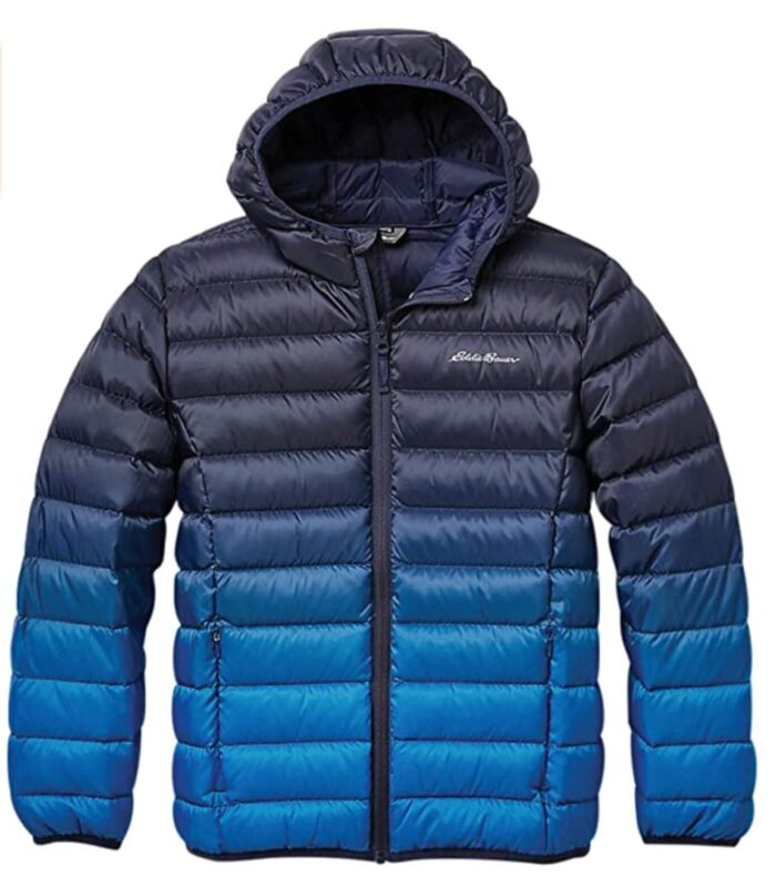 *NEW* Eddie Bauer Boys Peacoat Down Reversible Hooded Puffer Jacket Large 14-16