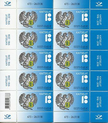 Estonia 2018 MNH Estonian Defence League 100 Yrs 8v M/S Emblems Military Stamps
