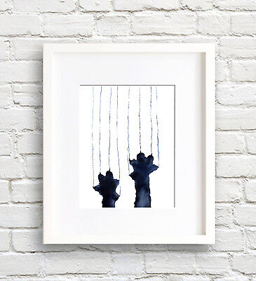 Naughty Black Cat Watercolor Painting Art Print by Artist DJ Rogers