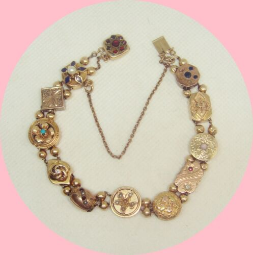 14k Yellow Gold Victorian Vintage Slide Bracelet NICE Multiple Gemstones! 24.6G