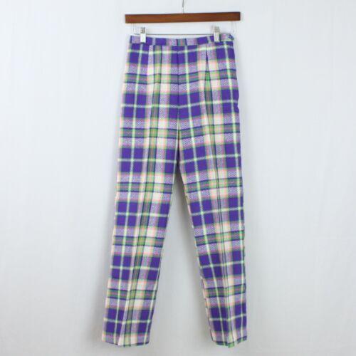Vintage Pants 1950s 1960s Girls Pants Plaid Bell Bottom High Waist 50s