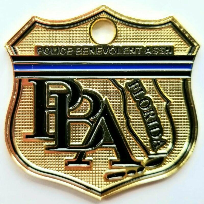 BLUELINE PBA FLORIDA LAW ENFORCEMENT SUPPORTER CAR POLICE LICENSE TAG  SHIELD