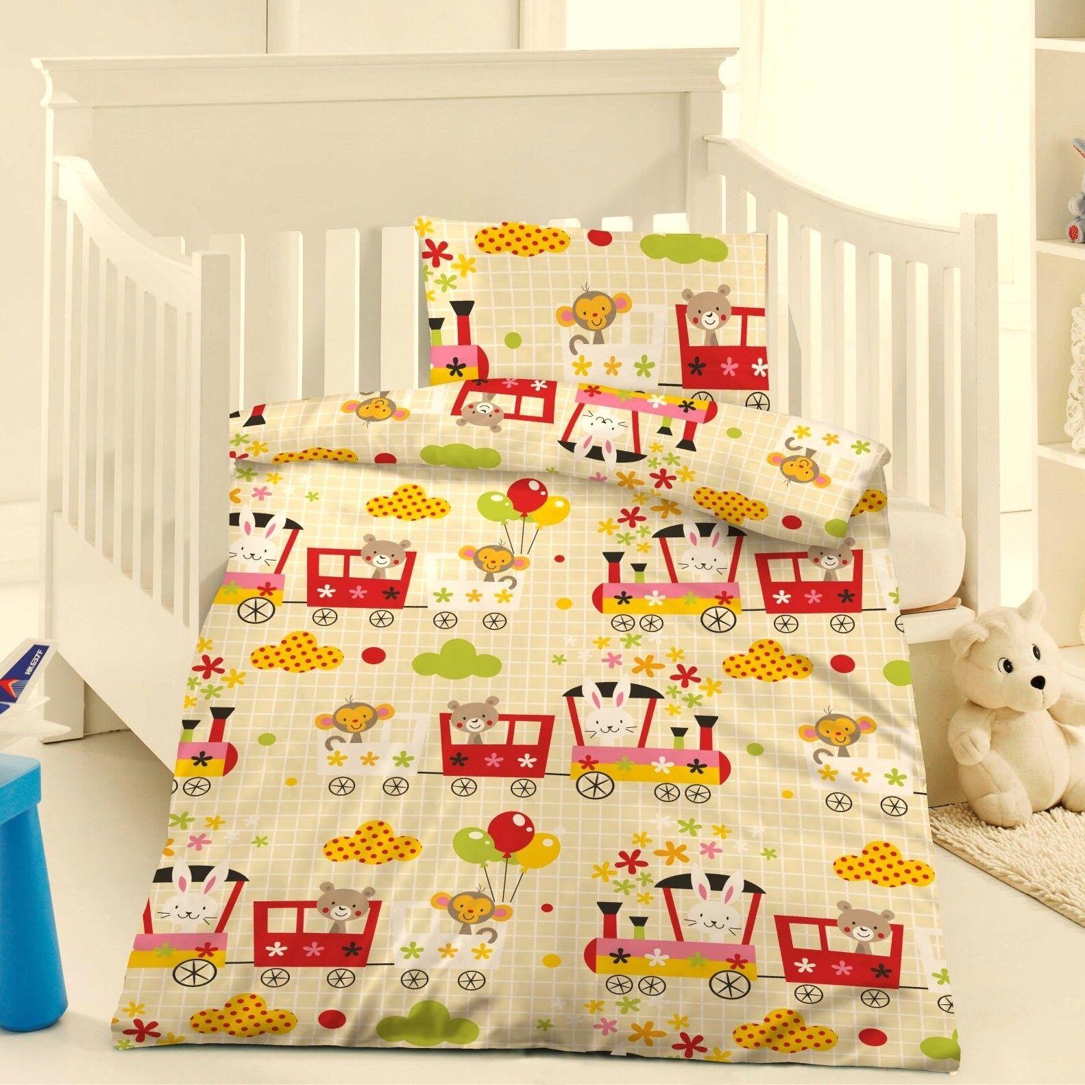 Microfaser Kinderbettwäsche Bettwäsche 100x135 Zug Tiere bunt #415394