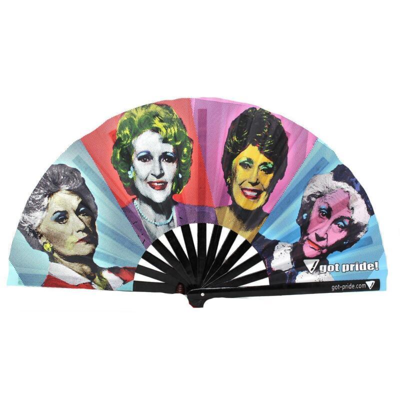 Golden Pop Art Klackin Fan™ Bamboo Folding Hand Fan, Gay Fan Clack Fan, Rave Fan