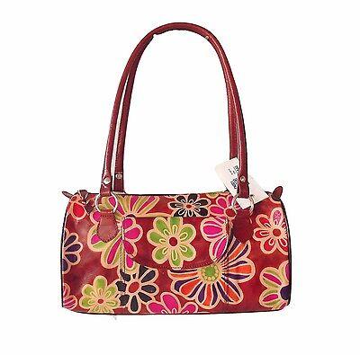 Genuine Leather  Boho Shantiniketan Floral Bag Purse Handbag Hand Tooled Painted