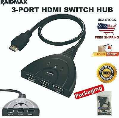 RAIDMAX 3 Port Hdmi Switch Switcher Splitter Selector HUB Box HDTV 1080P Xbox