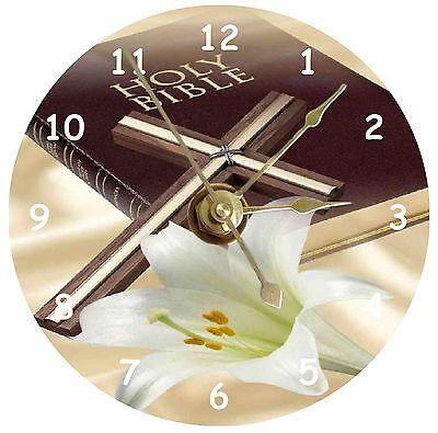 Bible With Cross Cd Clock