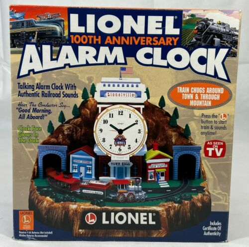 Vintage 100th Anniversary Lionel Trains Motion Alarm Clock With Original Box