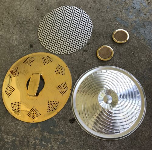 Resonator Guitar Parts. Cover Plate, Cone, and Screens. Goldtone.